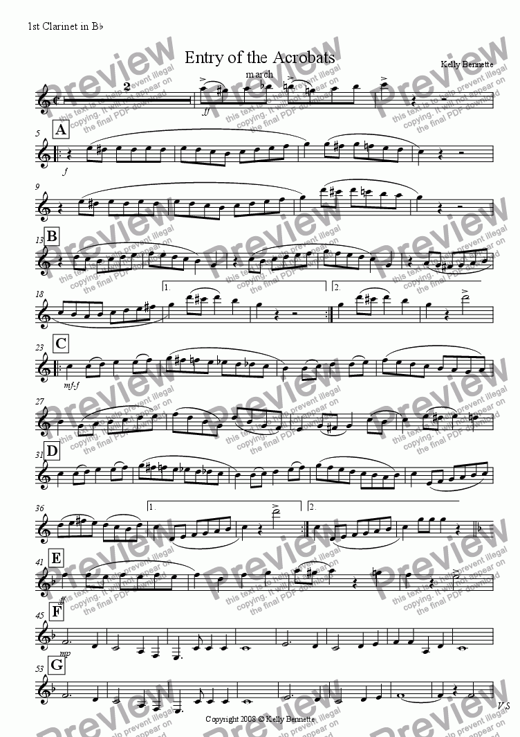 page one of the Bb Clarinet 1 part from Entry of the Acrobats march
