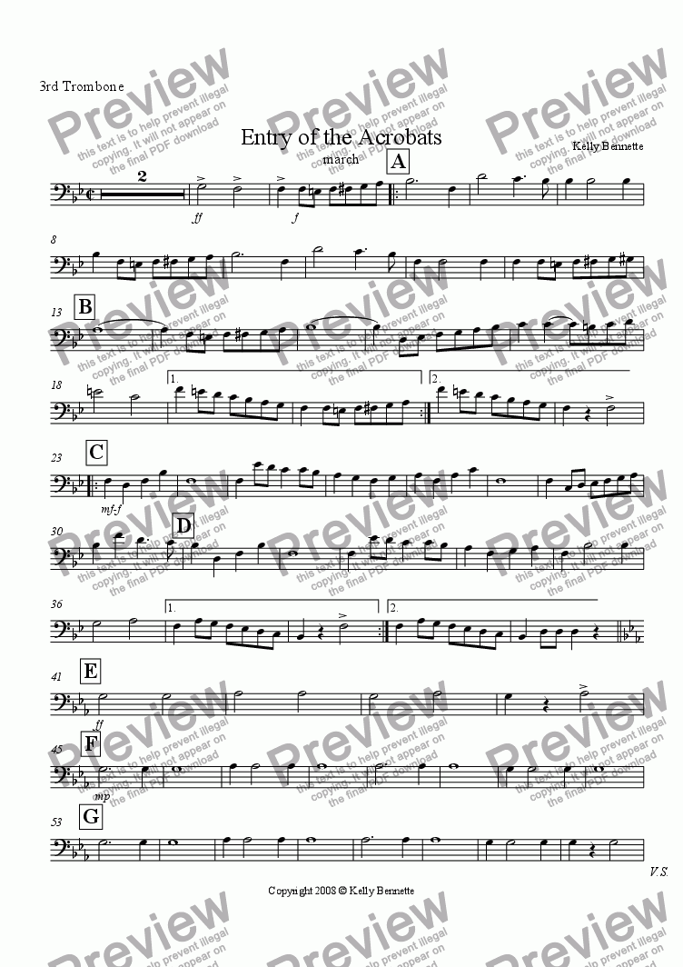 page one of the Trombone 3 part from Entry of the Acrobats march
