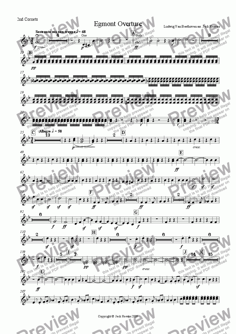 page one of the 2nd Cornets Bb part from Egmont Overture - Brass Band