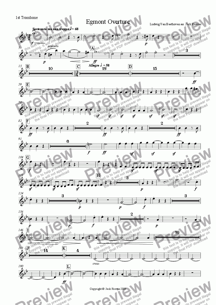 page one of the 1st Trombone Bb part from Egmont Overture - Brass Band