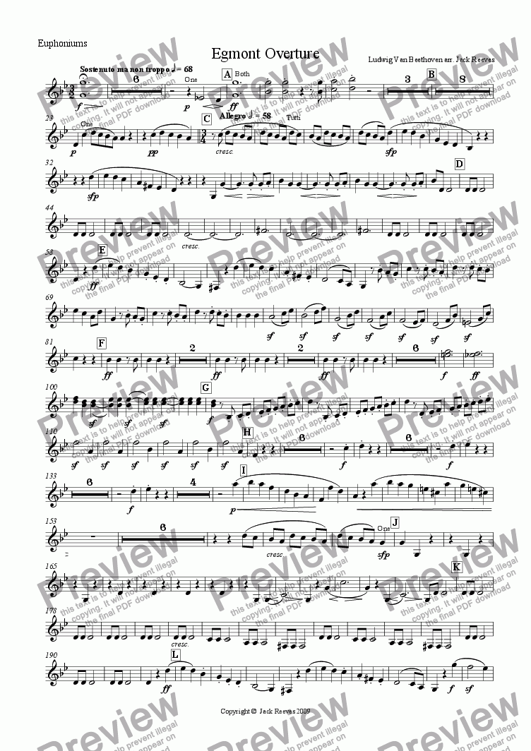 page one of the Euphoniums Bb part from Egmont Overture - Brass Band