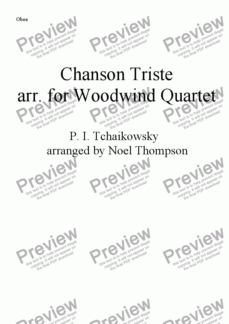 page one of the oboe part from Chanson Triste(Tchaikowsky) arranged for Woodwind Quartet