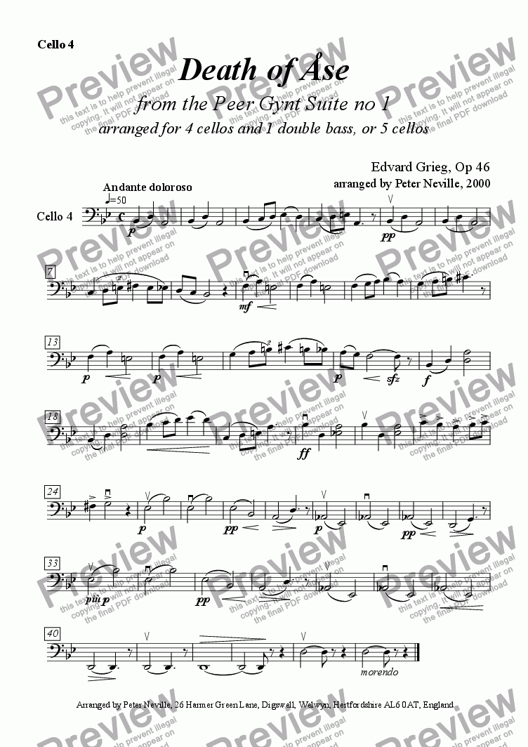 page one of the Cello 4 part from Death of Åse (Grieg) for five cellos OR 4cellos+1dble.bass