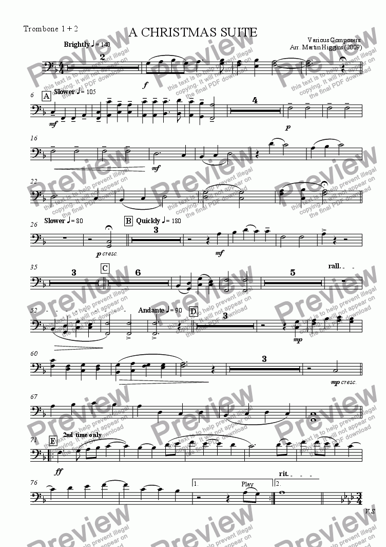 "page one of the Trombone 1 & 2 part from ""A Christmas Suite"" for Windband (2009)"
