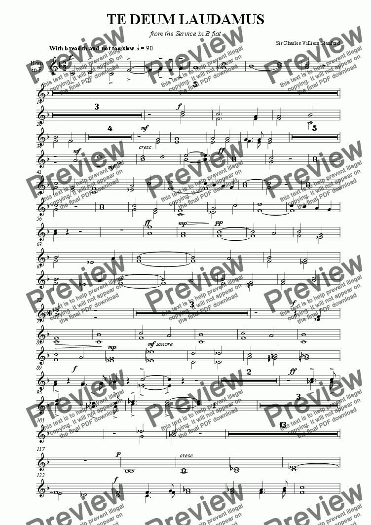page one of the Horns part from Stanford - Te Deum in B flat [SATB, Org & Brass]