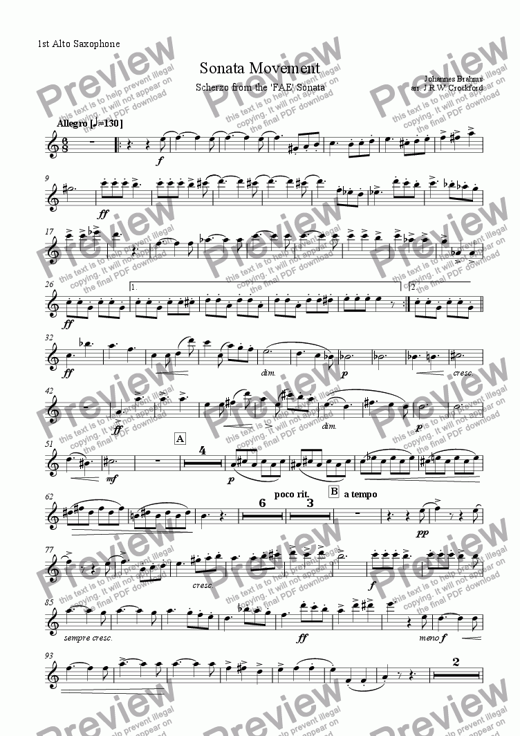 page one of the 1st Alto Saxophone part from Sonata Movement (Scherzo from FAE Sonata) for Solo EWI/Soprano Saxophone with Saxophone Ensemble