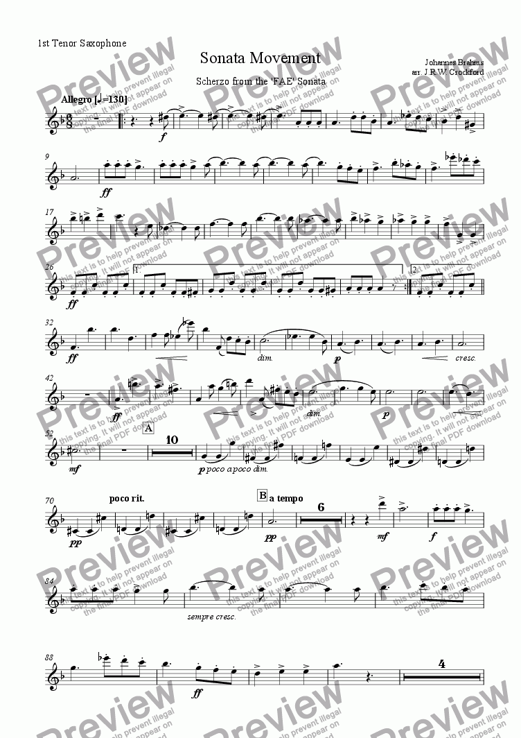 page one of the 1st Tenor Saxophone part from Sonata Movement (Scherzo from FAE Sonata) for Solo EWI/Soprano Saxophone with Saxophone Ensemble