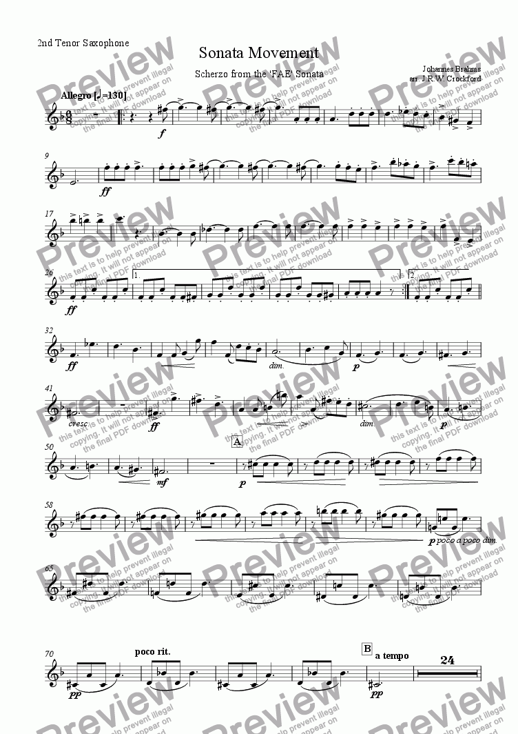 page one of the 2nd Tenor Saxophone part from Sonata Movement (Scherzo from FAE Sonata) for Solo EWI/Soprano Saxophone with Saxophone Ensemble