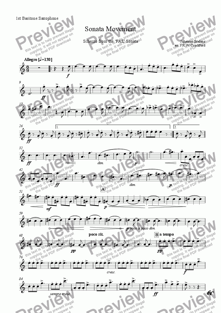 page one of the 1st Baritone Saxophone part from Sonata Movement (Scherzo from FAE Sonata) for Solo EWI/Soprano Saxophone with Saxophone Ensemble