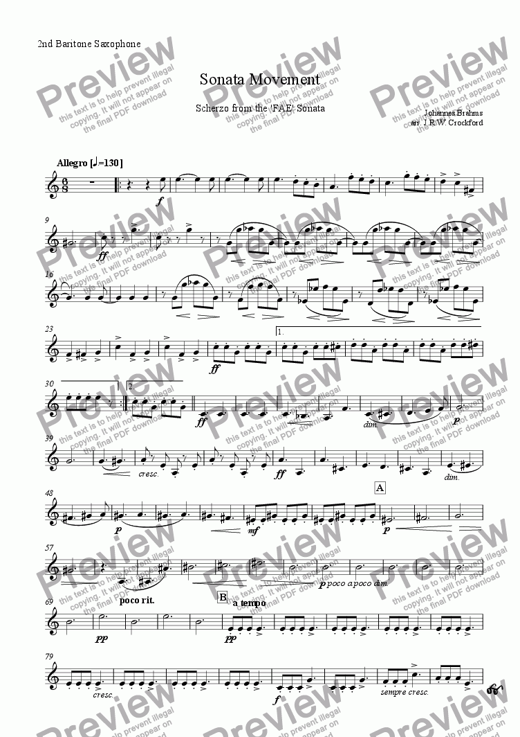 page one of the 2nd Baritone Saxophone part from Sonata Movement (Scherzo from FAE Sonata) for Solo EWI/Soprano Saxophone with Saxophone Ensemble