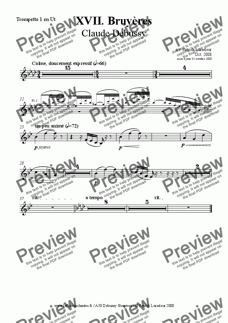 page one of the Trumpet 1 in C part from Debussy: Bruyères (small orchestra)