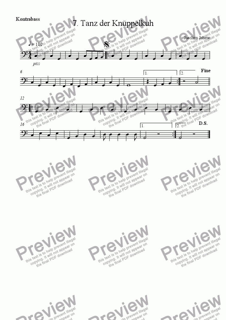 page one of the Bass part from Matilda 07 (Tanz der Kn�ppelkuh)
