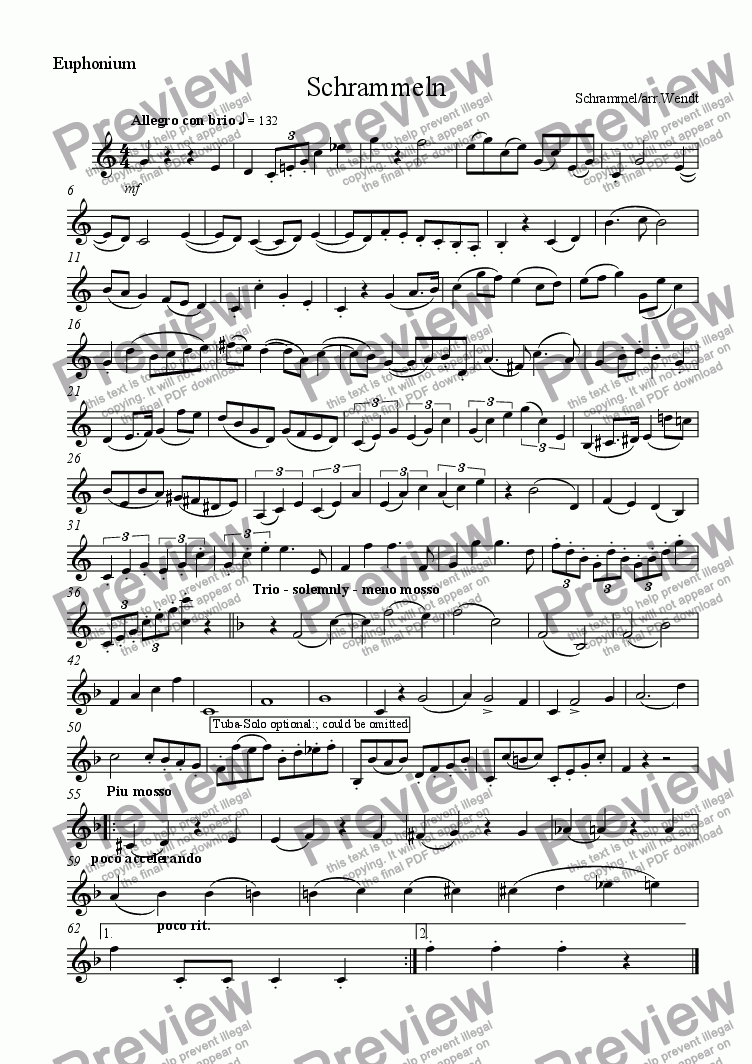 page one of the Euphonium part from Brass-Schrammeln