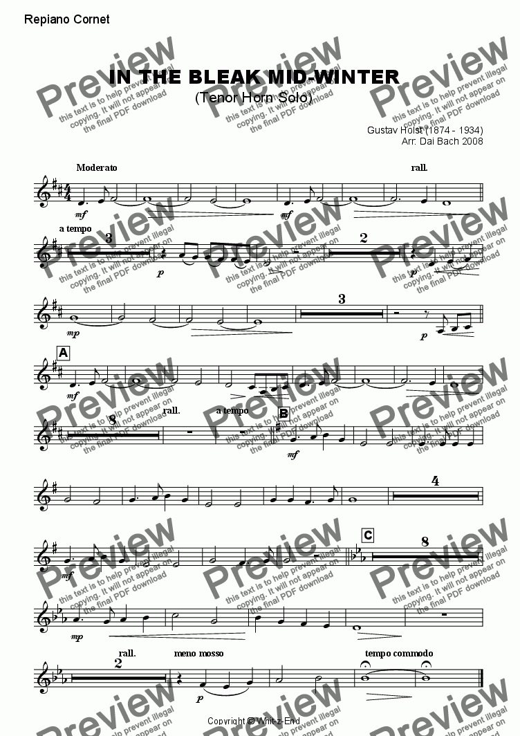 page one of the Repiano Cornet part from In the Bleak Mid-Winter (Horn Feature)