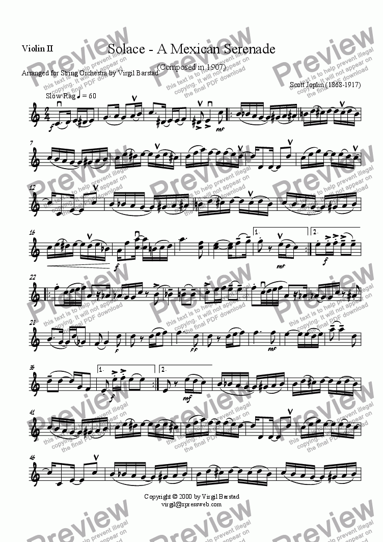 page one of the Violin II part from Solace - A Mexican Serenade