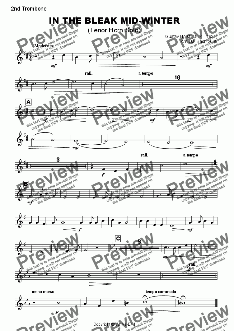 page one of the 2nd Trombone part from In the Bleak Mid-Winter (Horn Feature)