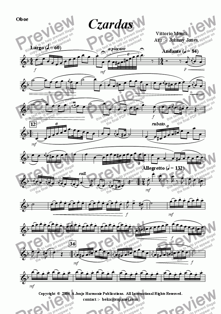 page one of the Oboe part from Czardas   (Oboe and Piano)