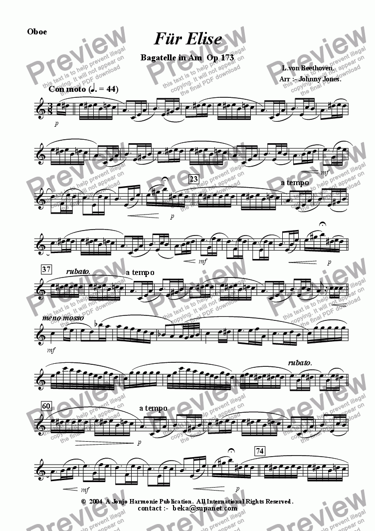 page one of the Oboe part from Fur Elise  (from Bagatelle in Am Op. 173.  (Oboe and Piano)
