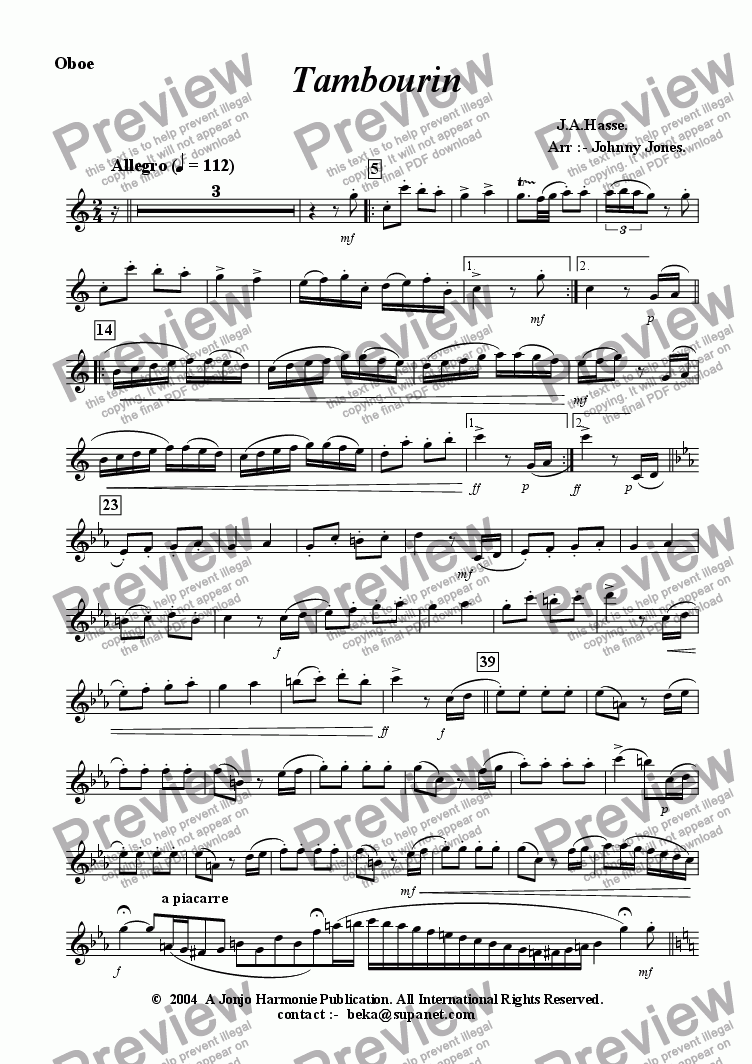 page one of the Oboe part from Tambourin   (Hasse,  Oboe and Piano)