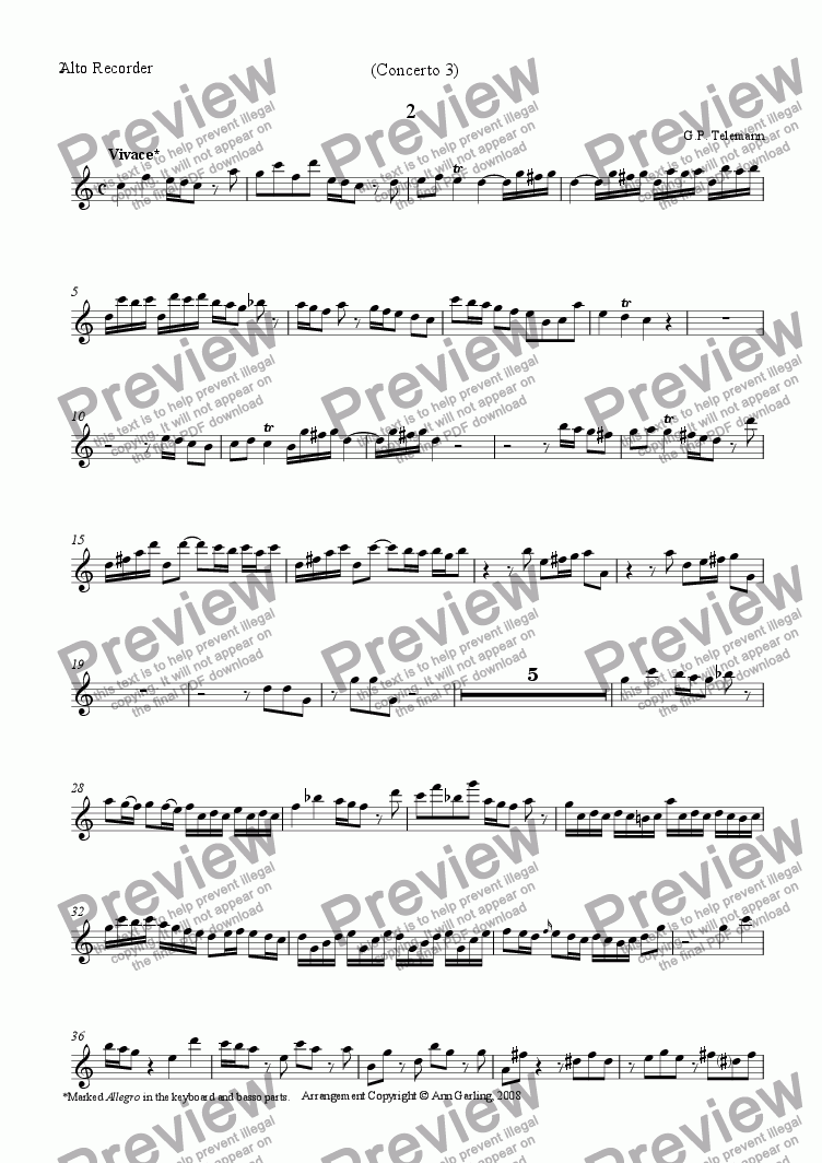 page one of the Alto recorder part from Concerto 3 from 6 concertos and 6 suites, 2nd movement