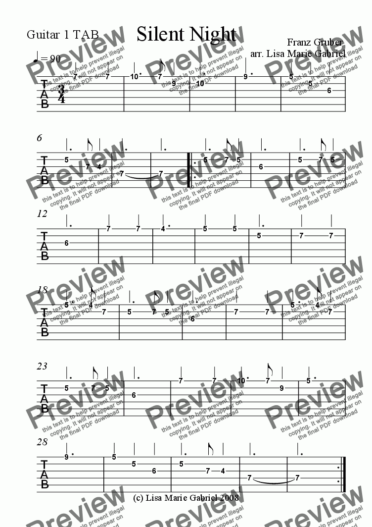 page one of the Guitar 1 melody TAB part from Silent Night for Guitar Quartet