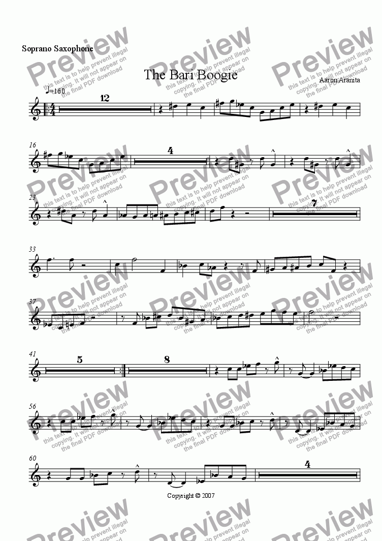 page one of the Soprano Sax part from The Bari Boogie