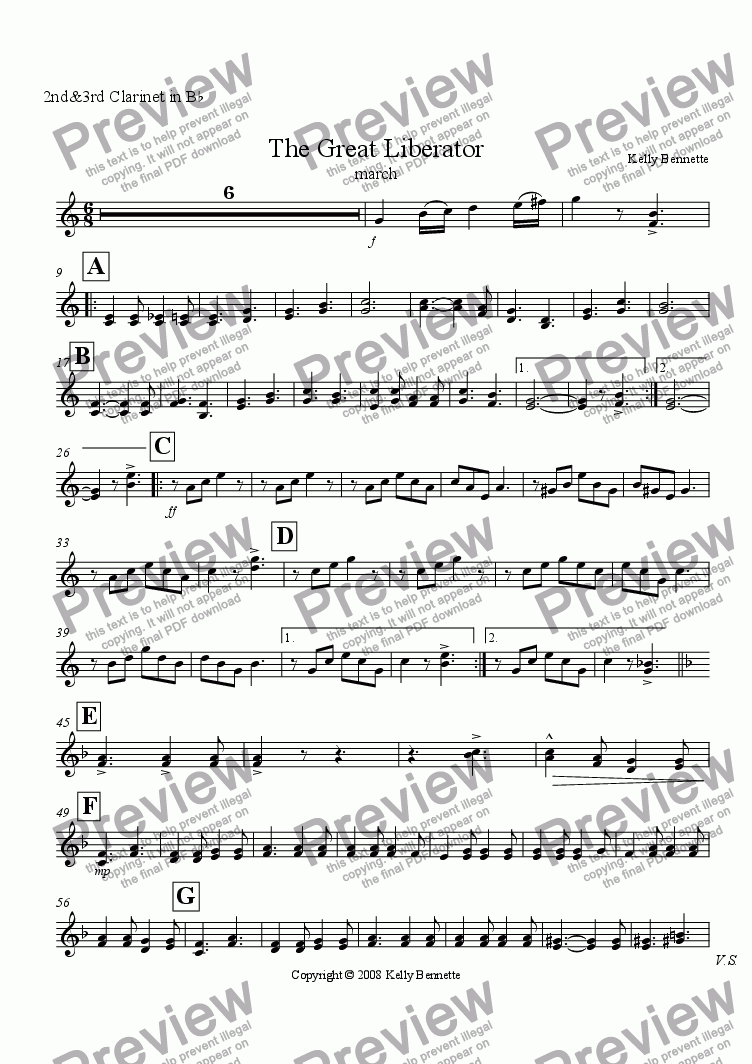 page one of the Bb Clarinet 2&3 part from The Great Liberator march