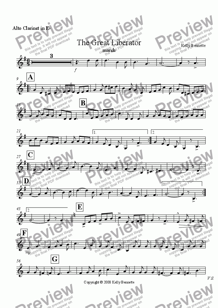 page one of the Alto Clarinet part from The Great Liberator march