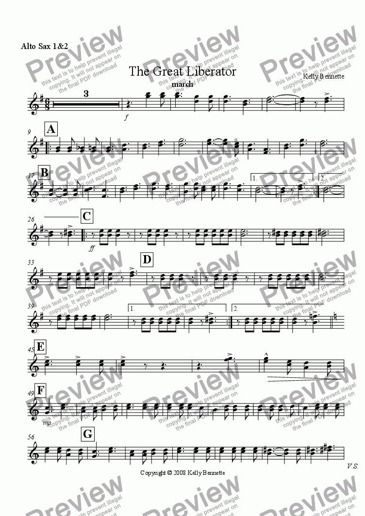 page one of the Alto sax 1&2 part from The Great Liberator march