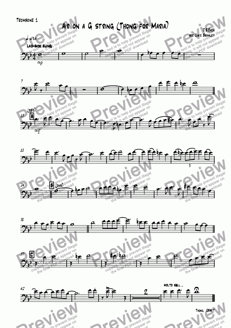 page one of the Trombone  1 part from Air on a G string (Thong for Maria)