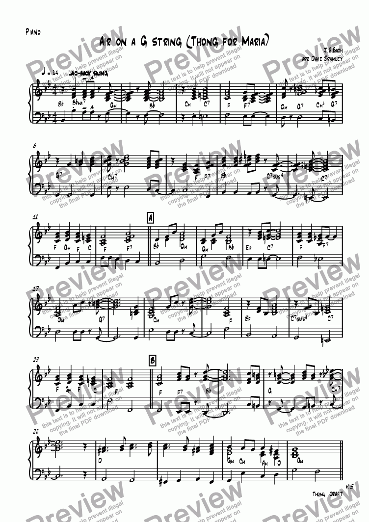 page one of the Piano part from Air on a G string (Thong for Maria)