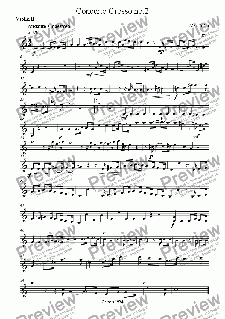 page one of the Violin II part from Concerto Grosso No. 2