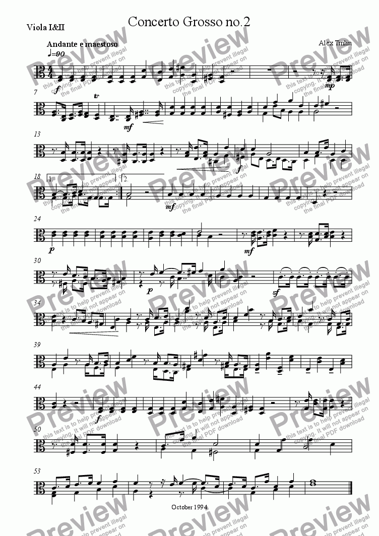 page one of the Viola I&II part from Concerto Grosso No. 2