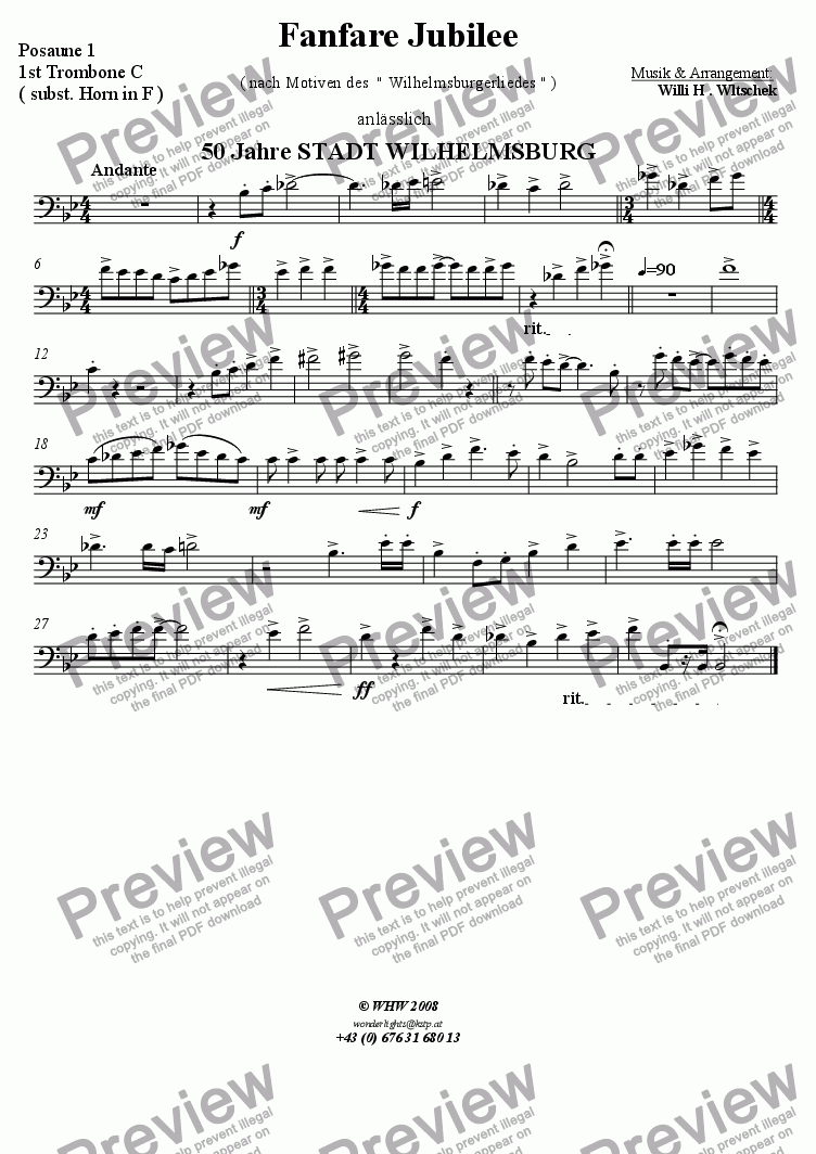 page one of the 1st Trombone ( subst. Horn in F ) part from Fanfare Jubil�