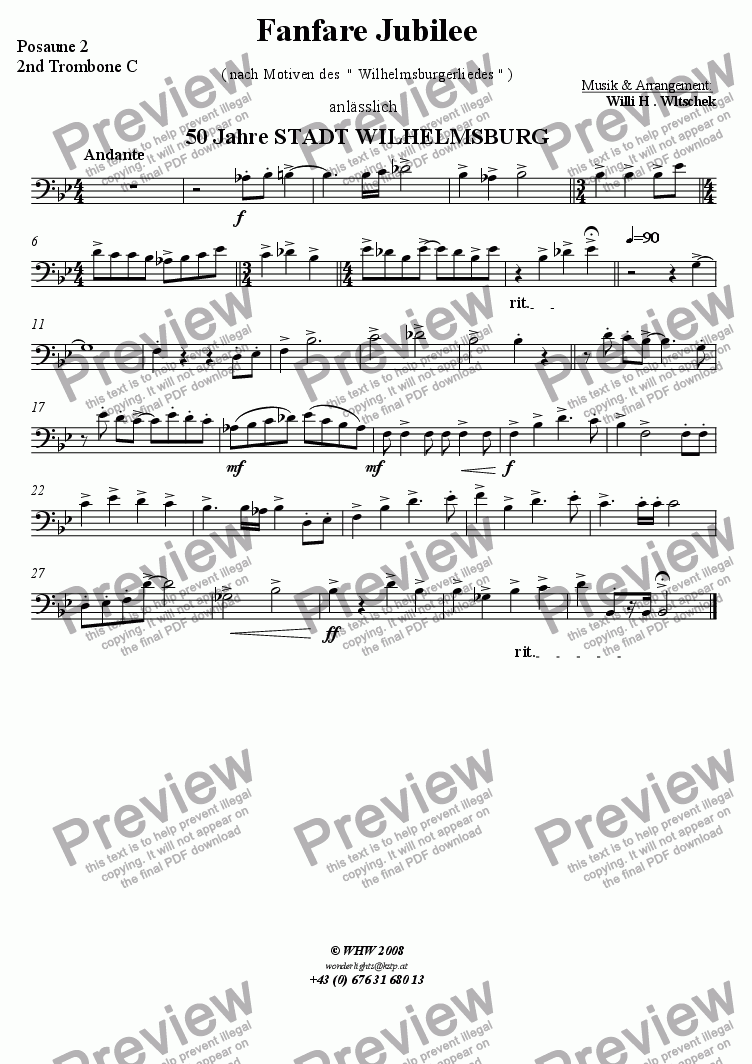 page one of the 2nd Trombone part from Fanfare Jubil�