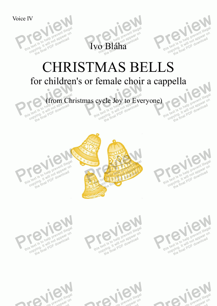 page one of the Voice IV part from CHRISTMAS BELLS (Zvoní zvony) for children's or female choir a cappella (English words)