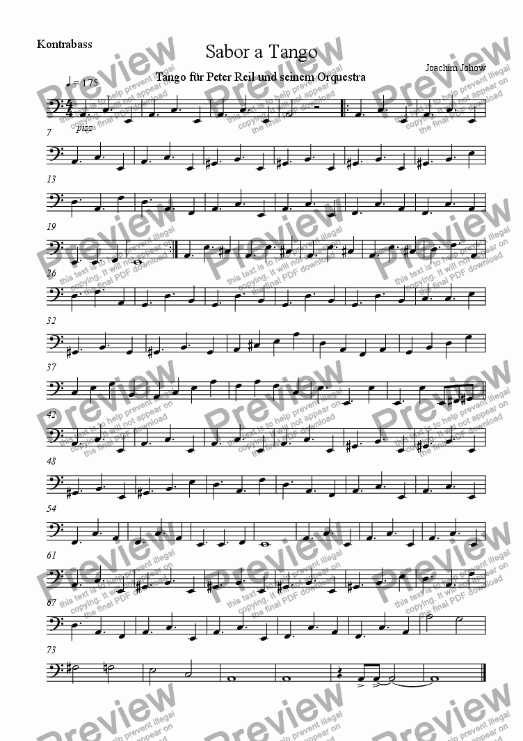 page one of the Bass part from Tango - Sabor a Tango (Bandoneon/Fl, 1./2.Vl/B/P)