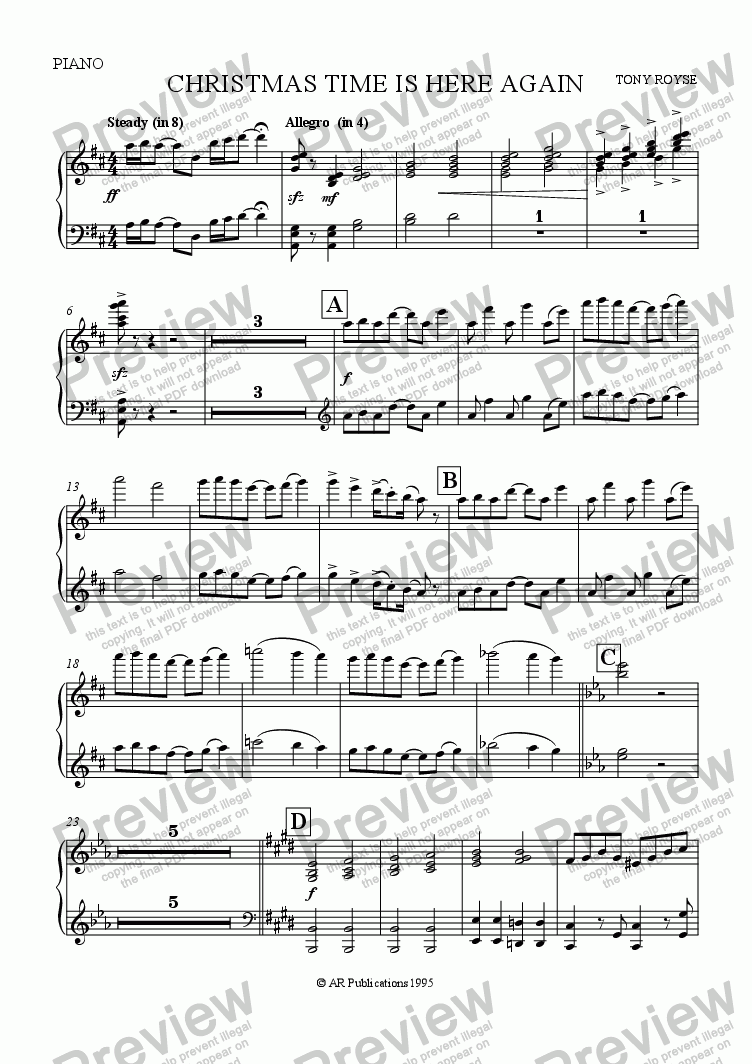 page one of the Piano part from Christmas Time Is Here Again (School Chorus and Orchestra)