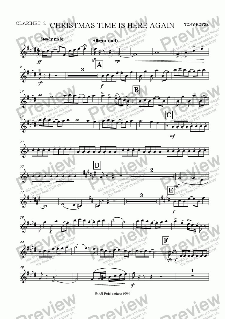 page one of the Clar. 2 part from Christmas Time Is Here Again (School Chorus and Orchestra)