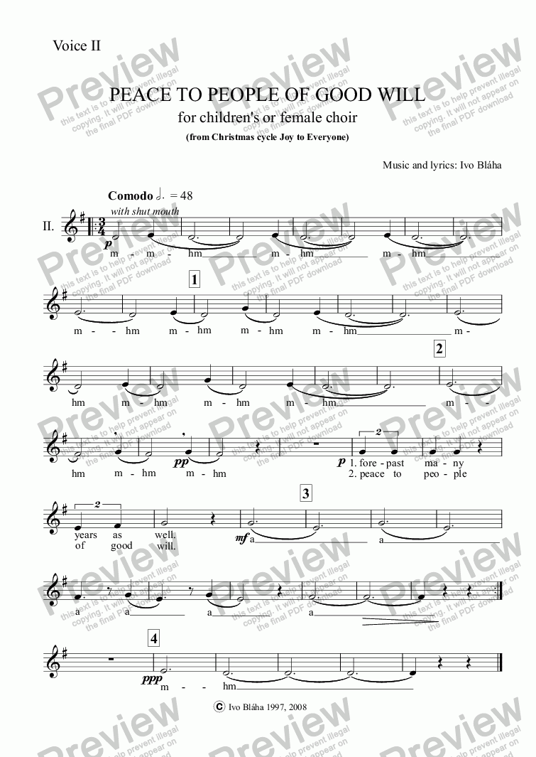 page one of the Voice II part from PEACE TO PEOPLE OF GOOD WILL (Pokoj lidem dobré vůle) for children's or female choir a cappella (English words)