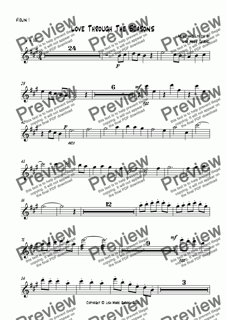 page one of the First Violin part from Love Through The Seasons - ST/AB with Harp/Piano and Strings