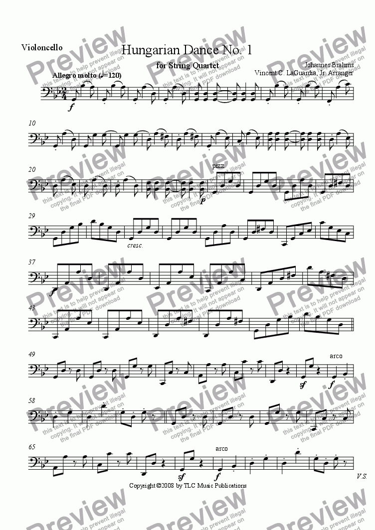 page one of the Cello part from Brahms Hungarian Dance No. 1 for String Quartet