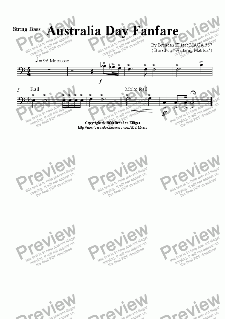 page one of the String Bass/Bass Guitar part from Australia Day Fanfare - Concert Band (with optional Strings)