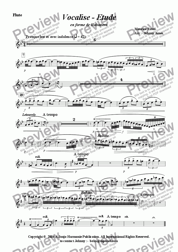page one of the Flute part from Vocalise - Etude   (Flute and Piano)