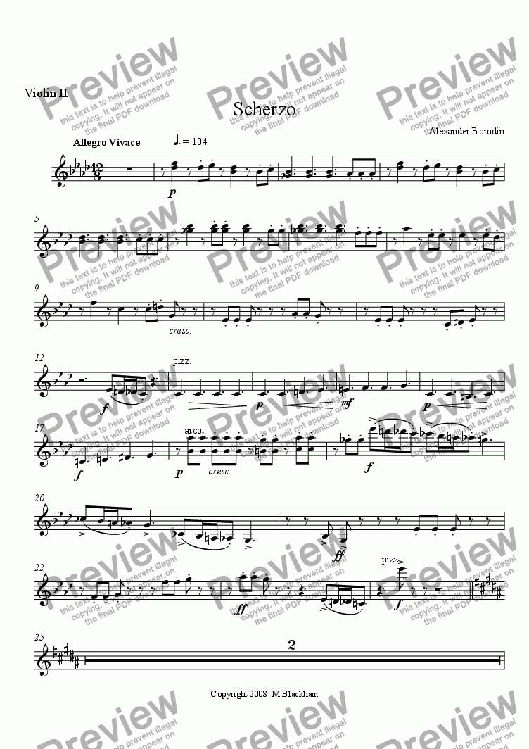 page one of the Violin II part from Scherzo