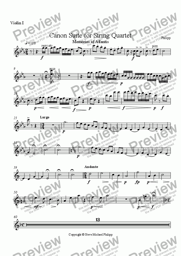 page one of the Violin I part from Memories of Atlantis