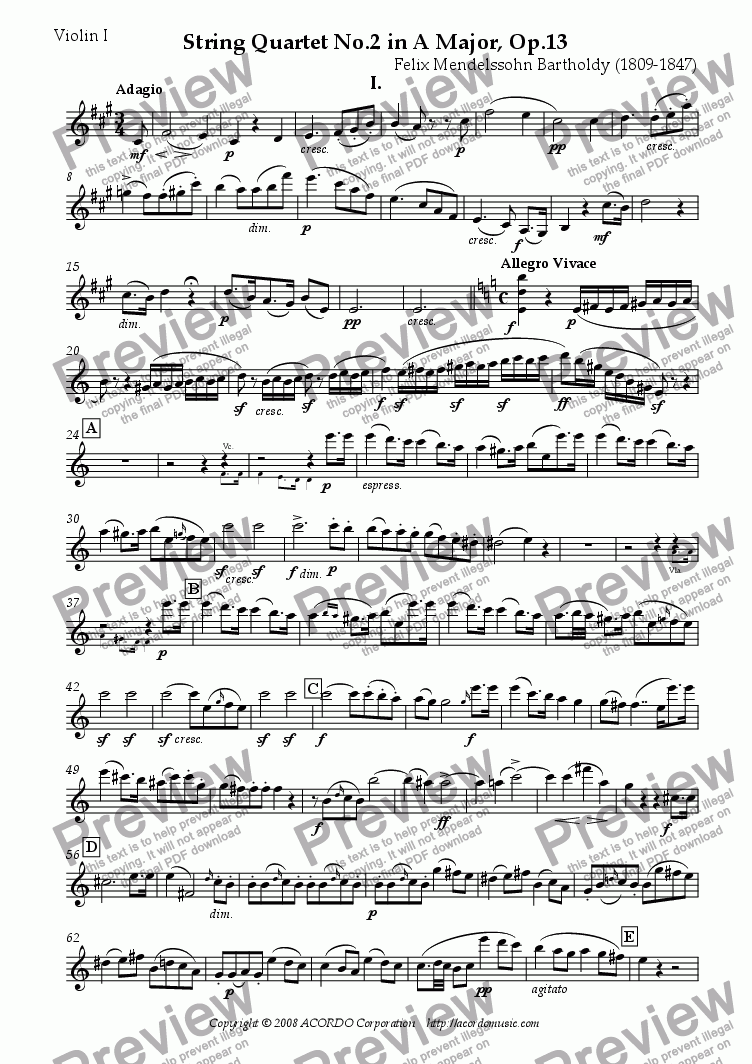 page one of the Violin I part from String Quartet No.2 in A major Op.13