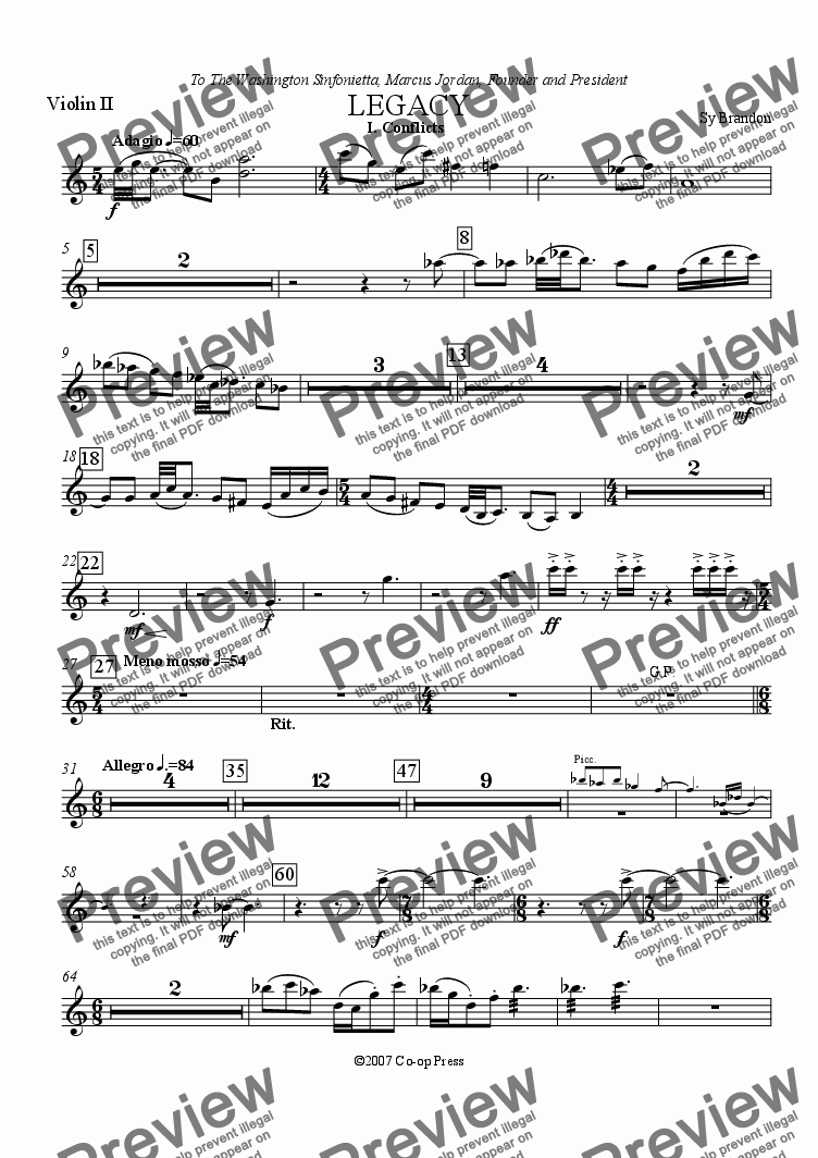 page one of the Violin 2 part from Legacy