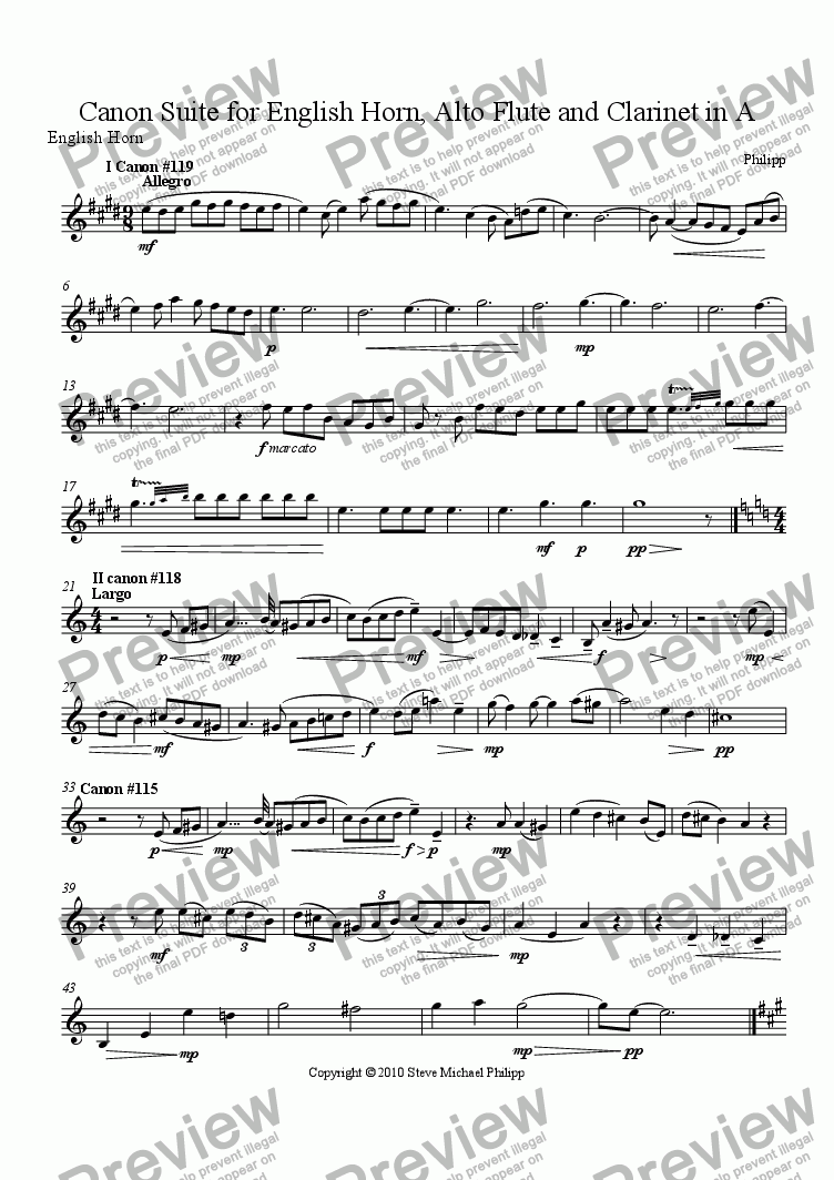 page one of the English Horn part from Canon Suite for English Horn, Alto Flute and Clarinet in A - The $25, 000 suite