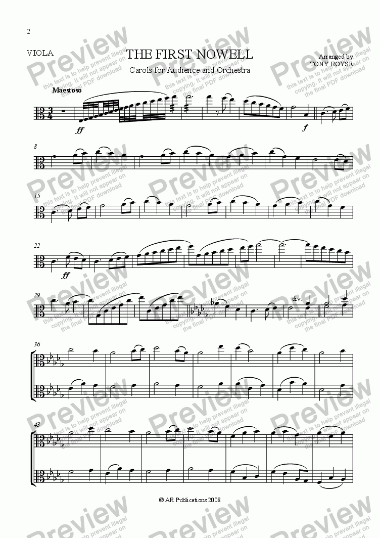 page one of the Viola part from The First Nowell